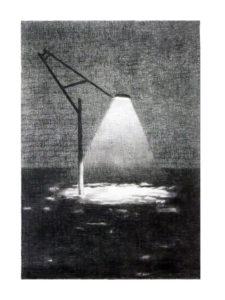 Ingo Müller, Hafencity bei Hochwasser, 30x40 cm, Bleistift auf Fotokopie, 2016