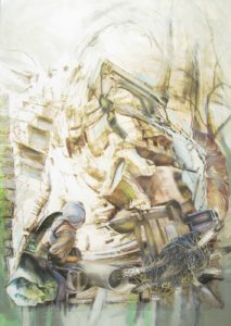 """Thorsten Dittrich, """"Akademiebericht"""", 2011, Öl und Farbstift auf Collage, 29x21 cm"""