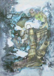 """Thorsten Dittrich, """"Maximalvorstellung"""", 2011, Öl und Farbstift auf Collage, 29x21 cm"""