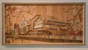 Tom Korn, Problemhaus 4 (ICC-Berlin), PVC-Fußbodenbelag-Collage, 2014
