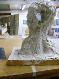 Durchschusskopf im Atelier Trier, März 2011