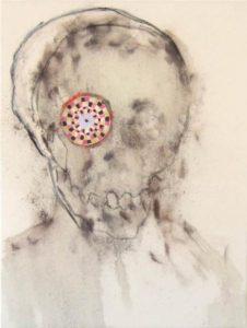 Okzipitallappen, Kohle, Pigmente, Hautleim, Pastell, Lackstift, Papier, Kreidegrund, Öl, Nessel, 2009/10, 60 x 80 x 5 cm