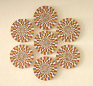 Okzipitallappenbewegung, Lack, Bleistift, HDF, Fichte, 2010, 60 x 60 x 2 cm