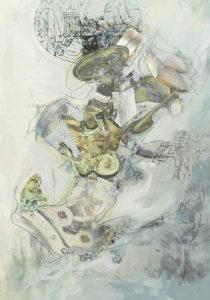 """Thorsten Dittrich, """"Taktgeber"""", 2011, Öl und Farbstift auf Collage, 29x21 cm"""