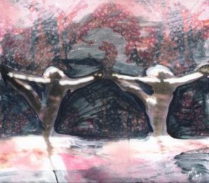 Tanja Hehmann, Performance 2009Bemalte Collage auf Pappe24,5 x 24, 5 cm