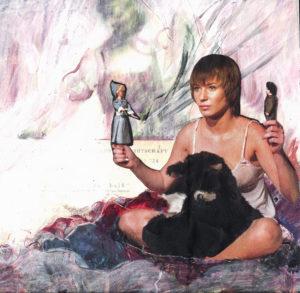 Tanja Hehmann, Teenager lieben heiß 2009Bemalte Collage auf Pappe24,5 x 24, 5 cm