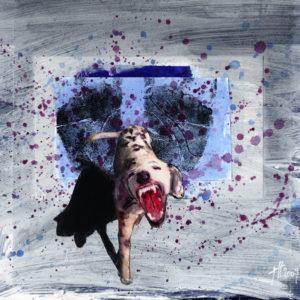 Vierfingerfurche2009bemalte Collage24,5 x 24,5 cm
