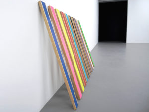 """Gilcozar, Modular polyptych painting from the """"slat fence"""" series, body of work titled """"private property"""", 2009"""