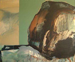 """""""Ohne Titel (Stein vor Hauswand)""""Acryl auf LW100 x 120 cm"""