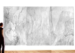 Massiv 6, 2013, Bleistift auf Papier, 250 x 450 cm (dreiteilig)