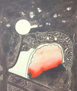Tim Ehrich, das Fest, 130 x 105 cm, Öl, Lack und Acryl auf Baumwolle