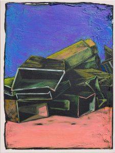 Sven Scharfenberg, Stand der Dinge, 2021, 80 x 60 cm, Öl-, Acryl und Sand auf Leinwand